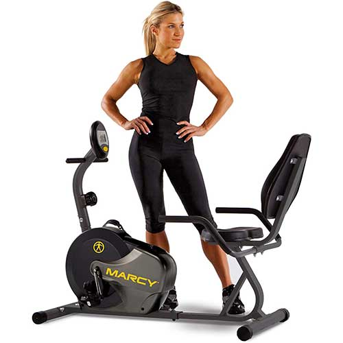 10. Marcy Magnetic Recumbent Bike with Adjustable Resistance and Transport Wheels NS-716R