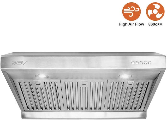 5. BV Range Hood - 30 Inch 860 CFM under Cabinet Stainless Steel Kitchen Range Hoods