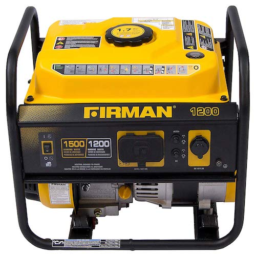 7. Firman P01202 1500/1200 Watt Recoil Start Gas Portable Generator