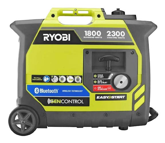 5. Ryobi Bluetooth 2,300-Watt Super Quiet Gasoline Powered Digital Inverter Generator