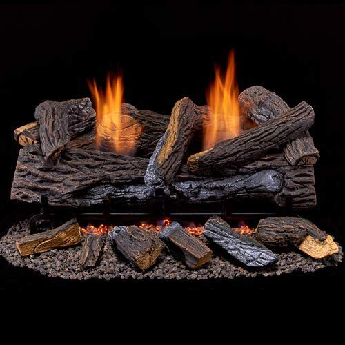 7. Duluth Forge Ventless Natural Gas Log Set-24 in. Split Red Oak, 24 Inch, Manual Control