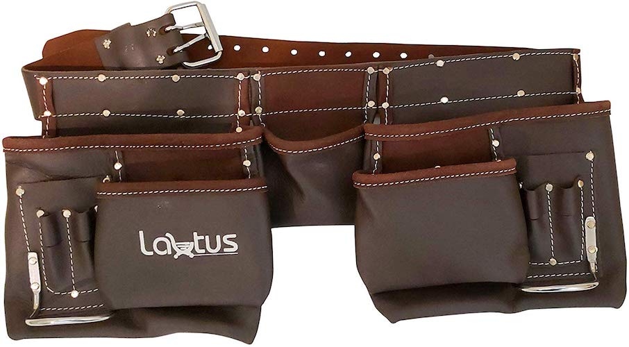 5. LAUTUS Oil Tanned Leather Tool Belt/Pouch/Bag
