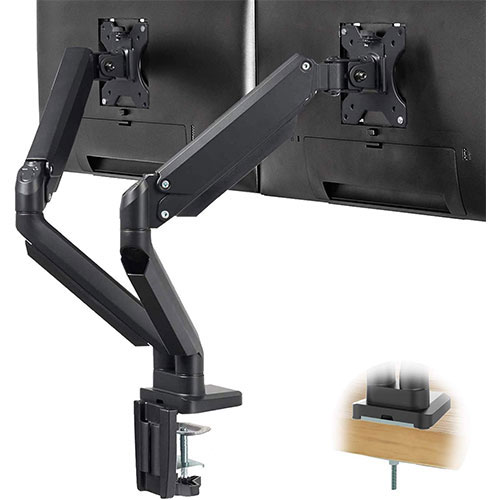 9. TechOrbits Three Monitor Stand Mount - SmartSWIVEL - Triple Computer Screen Desk Mount Arms
