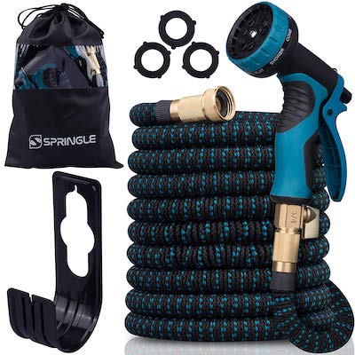 7. Flexible Garden Hose 50ft - Expandable and Retractable with 9 Spray Pattern, Lightweight and Collapsible Kink Free Usage