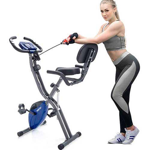 5. Merax 3 in 1 Adjustable Folding Exercise Bike Convertible Magnetic Upright Recumbent Bike