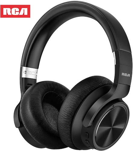 5. RCA [Upgraded] Active Noise Cancelling Headphones, Over Ear Wireless Bluetooth Headset with CVC 6.0 Microphone, 30Hrs Playtime, Foldable Soft Protein Earpads Earphones for Travel Work TV PC Phone