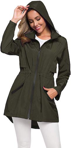 6. Avoogue Women's Long Raincoat