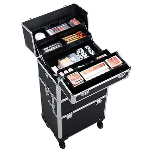 3. Yaheetech 3 in 1 Professional Artist Rolling Trolley Makeup Train Case