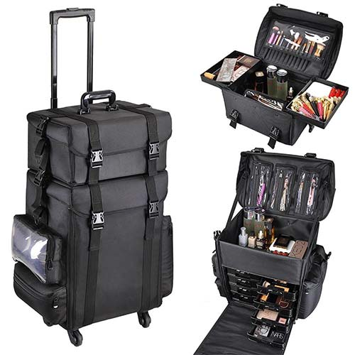 6. AW 2in1 Black Oxford Soft Sided Rolling Makeup Case
