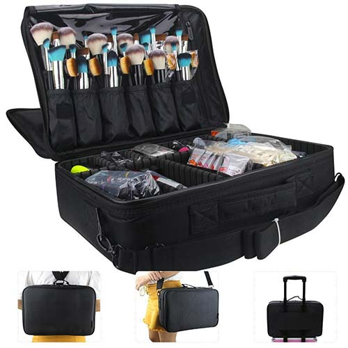 8. MONSTINA Large Capacity Makeup Case 3 Layers Cosmetic Organizer Brush Bag Makeup Train Case