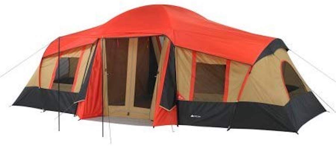 9. Ozark WMT922.2A Trail 10-Person 3-Room Vacation Tent Fits 3 Queen Air Mattresses
