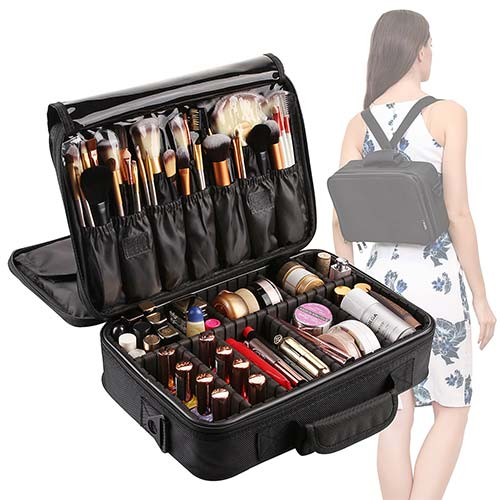 10. VASKER Large Makeup Bag Organizer 3 Layers Waterproof Professional Travel Cosmetic Case Portable Train Cases