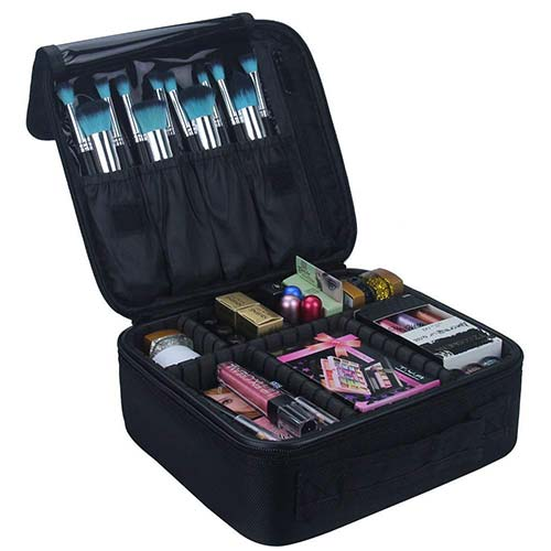 7. Relavel Travel Makeup Train Case Makeup Cosmetic Case Organizer Portable Artist Storage Bag