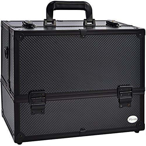 4. Makeup Train Case Professional Adjustable - 6 Trays Cosmetic Cases Makeup Storage Organizer Box