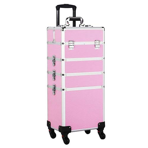 5. Yaheetech Professional Travel Makeup Train Case Rolling Pink 4 in 1 Large Makeup Cosmetic Case