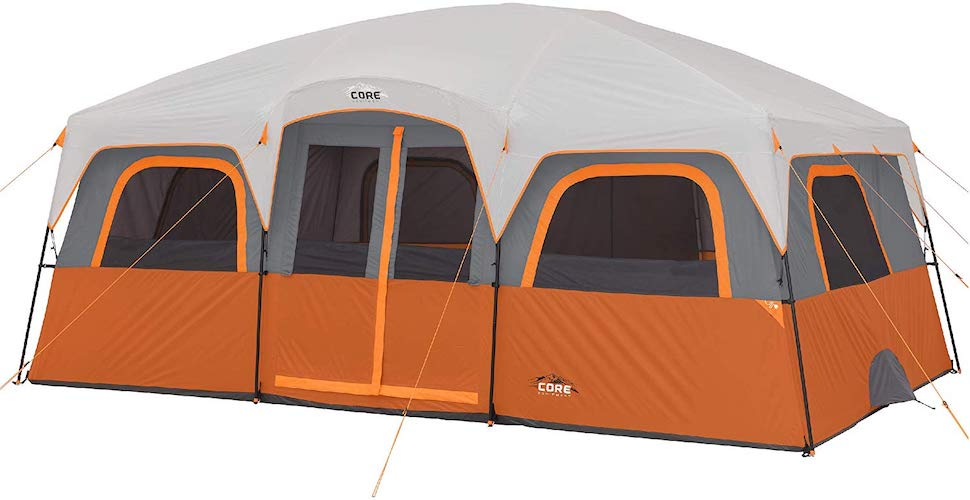 7. CORE 12 Person Extra Large Straight Wall Cabin Tent - 16' x 11'