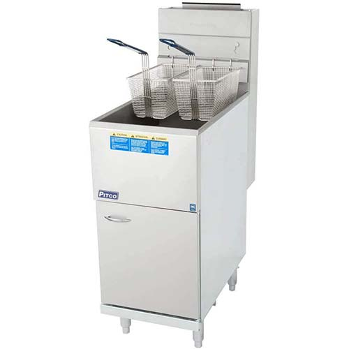 3. Natural Gas Pitco 35C+S 35-40 lb. Stainless Steel Floor Fryer