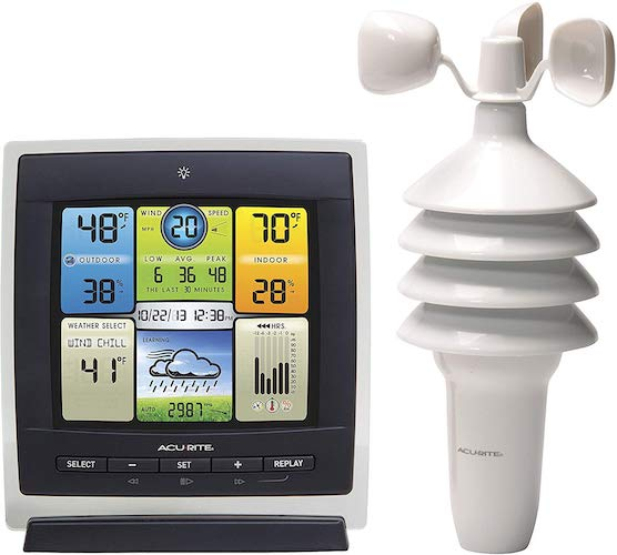 6. AcuRite 00589 Pro Color Weather Station with Wind Speed, Temperature and Humidity