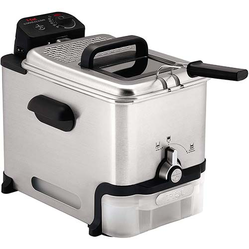 10. T-fal Deep Fryer with Basket, Stainless Steel, Easy to Clean Deep Fryer, Oil Filtration, 2.6-Pound, Silver, Model FR8000