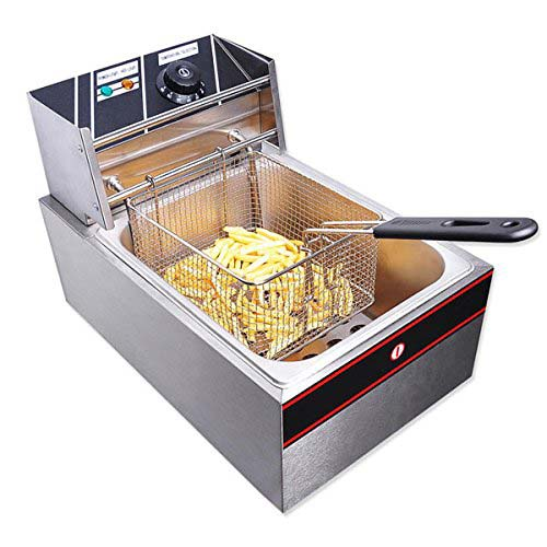 8. 6L Stainless Steel Electric Countertop Deep Fryer Commercial