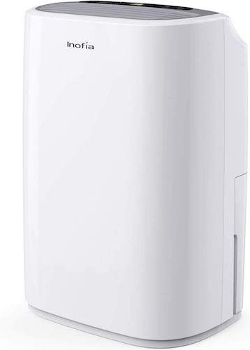 9. Inofia 30 Pints Dehumidifiers for Home Basements with Continuous Drain Hose Outlet and 4-Pint Water Bucket, Intelligent Humidity Control for Bedroom Bathroom Garage and Rooms up to 1056 sq. ft.