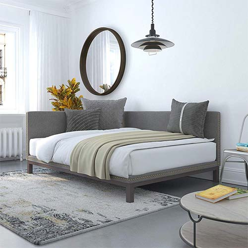 8. DHP Dale Upholstered Daybed/Sofa Bed Frame, Full Size, Grey Linen