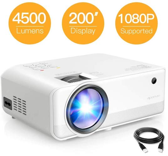 8. Mini Projector, APEMAN 4500 Lumen 1080P Supported Projector