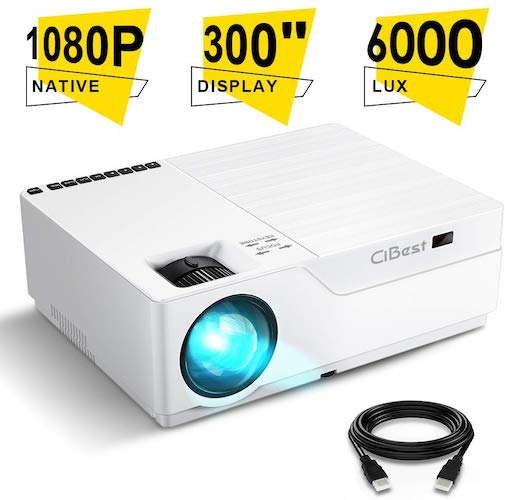 7. Projector, CiBest Native 1080p LED Video Projector