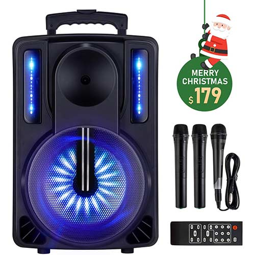 10. Karaoke Machine, ENKLOV Portable Wireless Karaoke Bluetooth Speaker System, 2 Microphones Sing Karaoke Machine