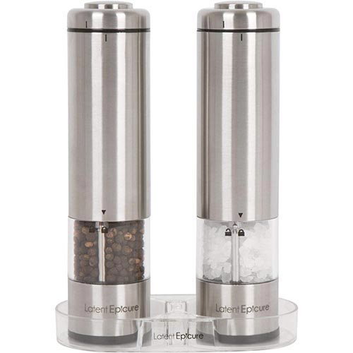 1. Latent Epicure Battery Operated Salt and Pepper Grinder Set