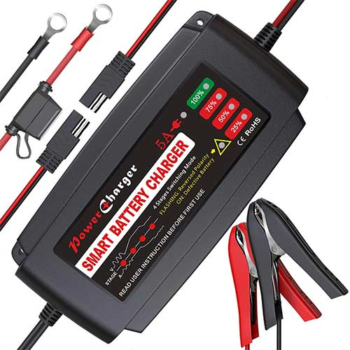 10. BMK 12V 5A Smart Battery Charger Portable Battery Maintainer