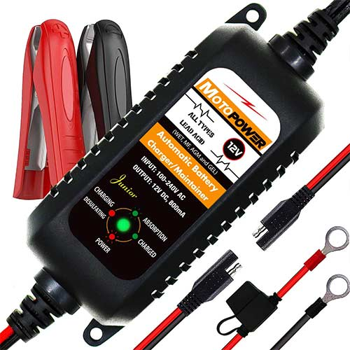 7. MOTOPOWER MP00205A 12V 800mA Fully Automatic Battery Charger/Maintainer