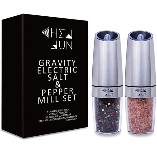 3. Gravity Electric Salt and Pepper Grinder Set with Adjustable Coarseness Automatic Pepper and Salt Mill Battery Powered