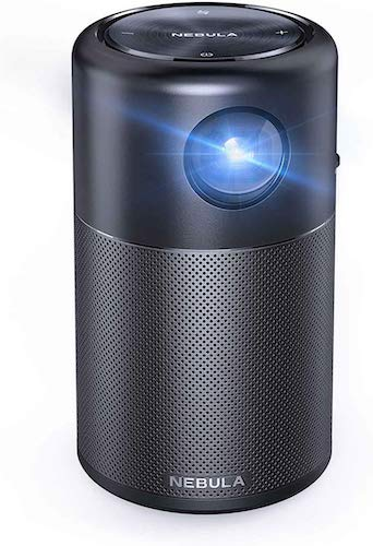 1. Nebula Capsule, by Anker, Smart Wi-Fi Mini Projector, Black, 100 ANSI Lumen Portable Projector