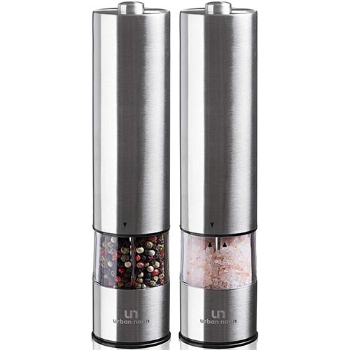 2. Electric Salt and Pepper Grinder Set - Battery Operated Stainless Steel Mill