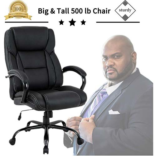 1. Big & Tall Heavy Duty Executive Chair 500 Lbs Heavyweight Rated Black PU Leather Task Rolling Swivel Ergonomic Executive Office Chair