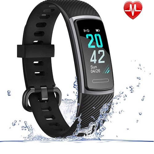 9. LETSCOM Fitness Tracker HR, IP68 Water Resistant Color Screen Activity Tracker