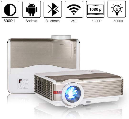 8. WiFi Wireless Projector with Bluetooth, 5000 Lumen Full HD 1080P Supported LCD Video Airplay Projector