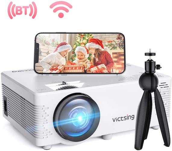2. VicTsing WiFi Projector, Bluetooth & Screen Mirroring, 3800 Lux Wireless Projector