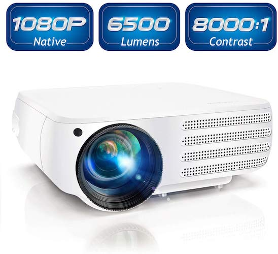 6. Projector 1080P Native 6500 Lumens HDMI Movie Projector
