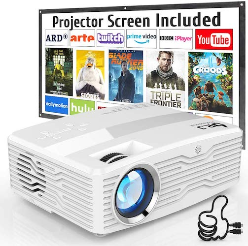 8. DR. J Professional Native 1080P LED Projector Full HD 6000 Lumens Projector