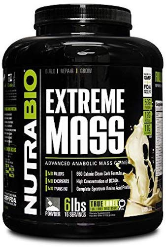 8. NutraBio Extreme Mass Weight Gainer - 6 lbs Vanilla by NutraBio