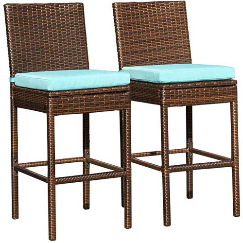 7. Sundale Outdoor 2 Pcs All Weather Patio Furniture Brown Wicker Barstool