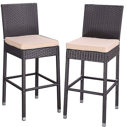 3. Do4U Set of 2 Patio Bar Stools All-Weather Wicker Outdoor Furniture Chair