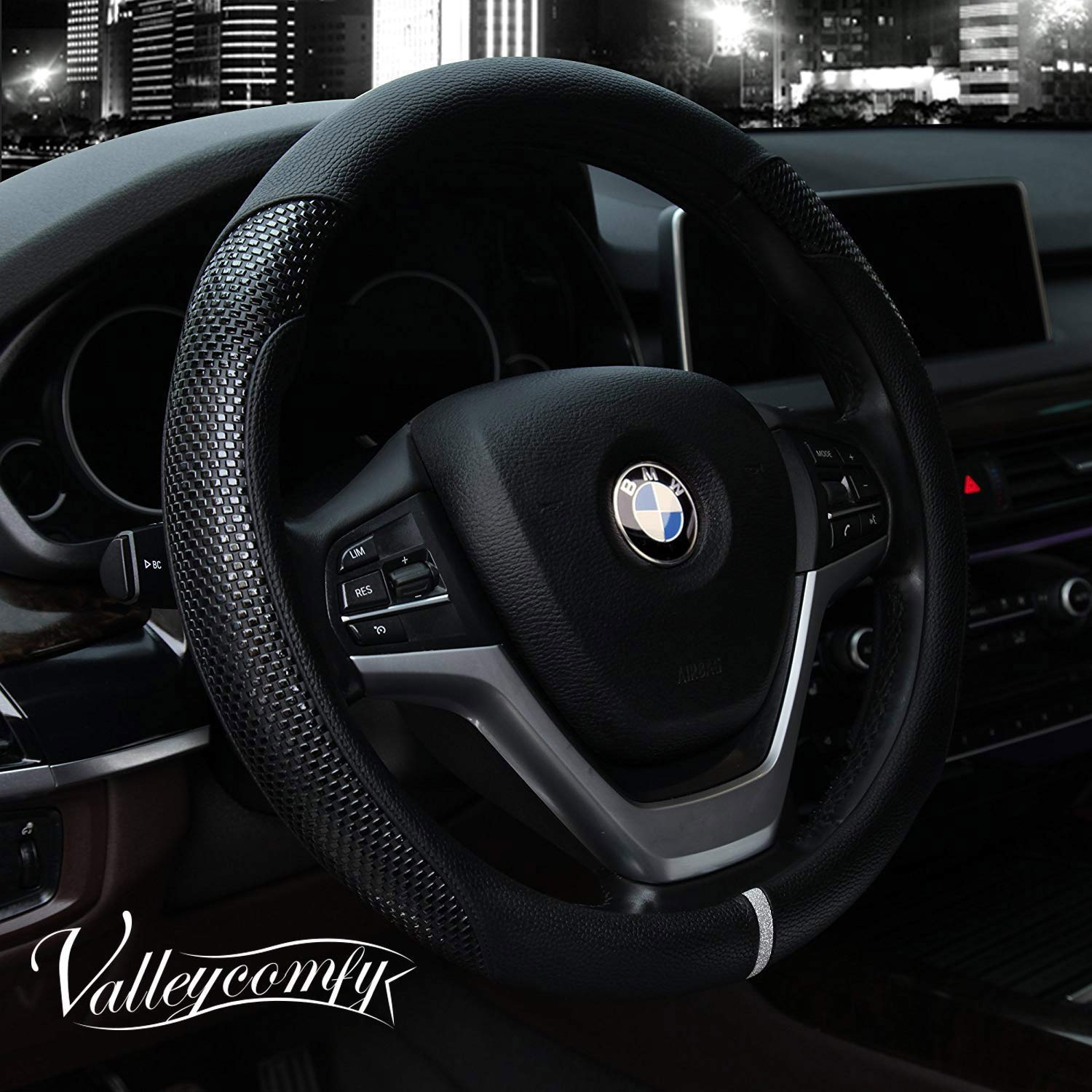 10. Valleycomfy Steering Wheel Cover with Microfiber Leather