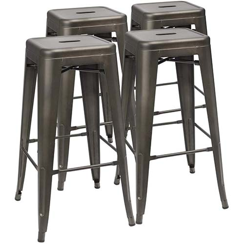 1. Furmax 30 Inches Metal Bar Stools High Backless Stools
