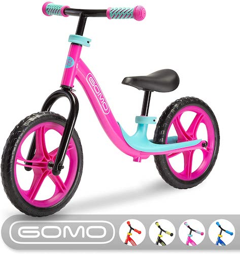 1. GOMO Balance Bike - Toddler Training Bike for 18 Months, 2, 3, 4 and 5-Year-Old Kids - Ultra Cool Colors Push Bikes for Toddlers/No Pedal Scooter Bicycle with Footrest