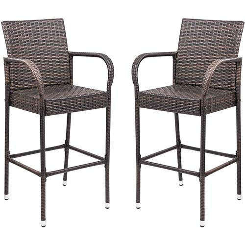 2. Homall Patio Bar Stools Wicker Barstools Indoor Outdoor Bar Stool Patio Furniture
