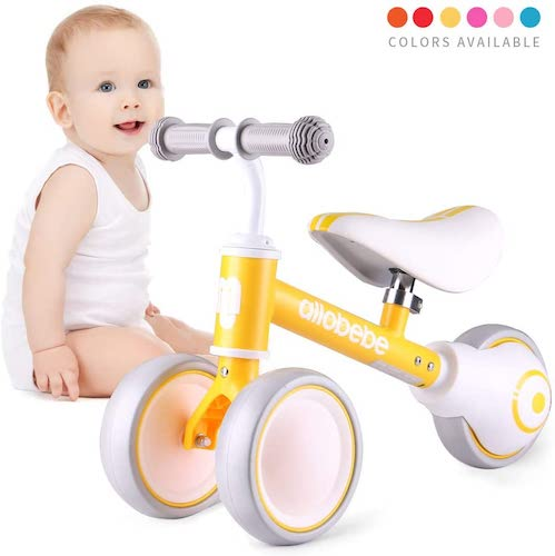 3. Allobebe Baby Balance Bike, Cute Toddler Bikes 12-36 Months Gifts for 1 Year Old Girl Bike to Train Baby from Standing to Running with Adjustable Seat Silent & Soft 3 Wheels