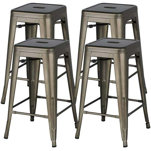 10. Yaheetech 24inch Metal Bar Stools Counter Height Barstools Set of 4 High Backless Industrial Stackable Metal Chairs